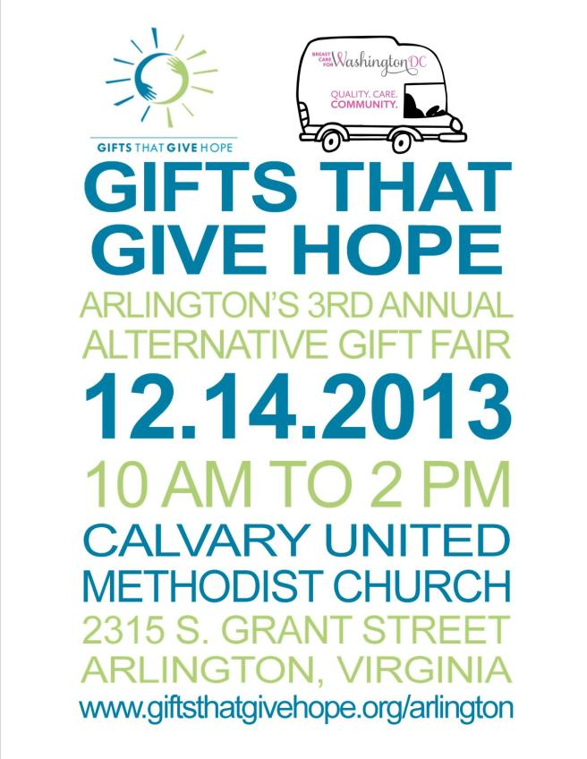 Gifts that Give hope arlington Breast Care for Washington DC holiday shopping non profits